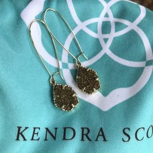 Kendra Scott Drop Earrings Drusy in Yellow Gold